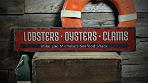 Lobsters Oysters Clams Wood Sign, Custom Chef Name Seafood Shack Sign, Beach Kitchen Decor - Rustic Hand Made Vintage Wooden Sign - 5.5 x 24 Inches