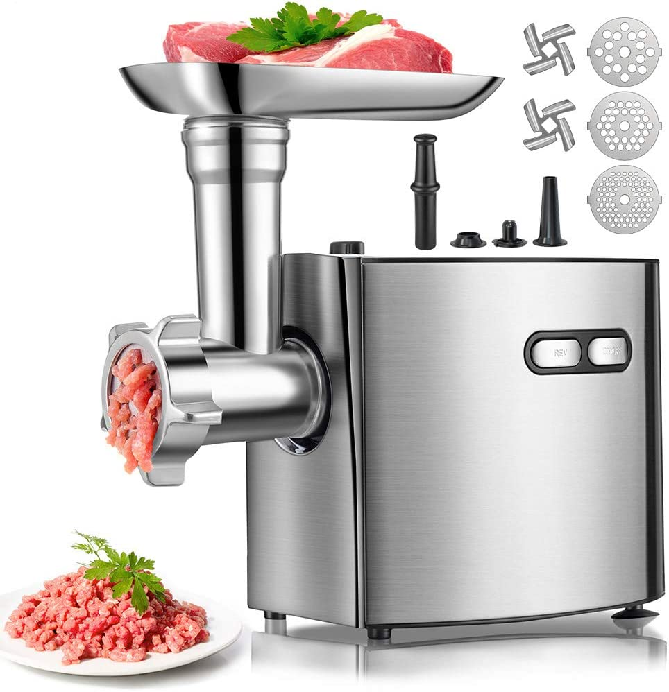 Electric Meat Grinder | cheffano ALTRA Meat Grinder Sausage Stuffer with Sausage Tube&Kubbe Kit | Stainless Steel Blade Cutting Discs | Copper Motor Meat Grinder For Home Use - Silver