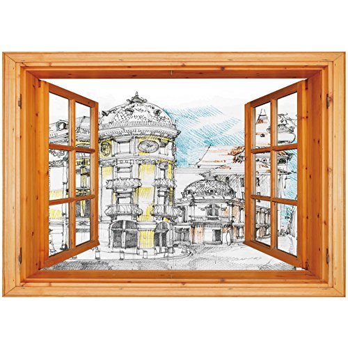 (3D Depth Illusion Vinyl Wall Decal Sticker [ Medieval Decor,Pale Sketch Design of Middle Age Renaissance Building in European Old Town Cityscape,Multi ] Window Frame Style Home Decor Art Removable Wal)