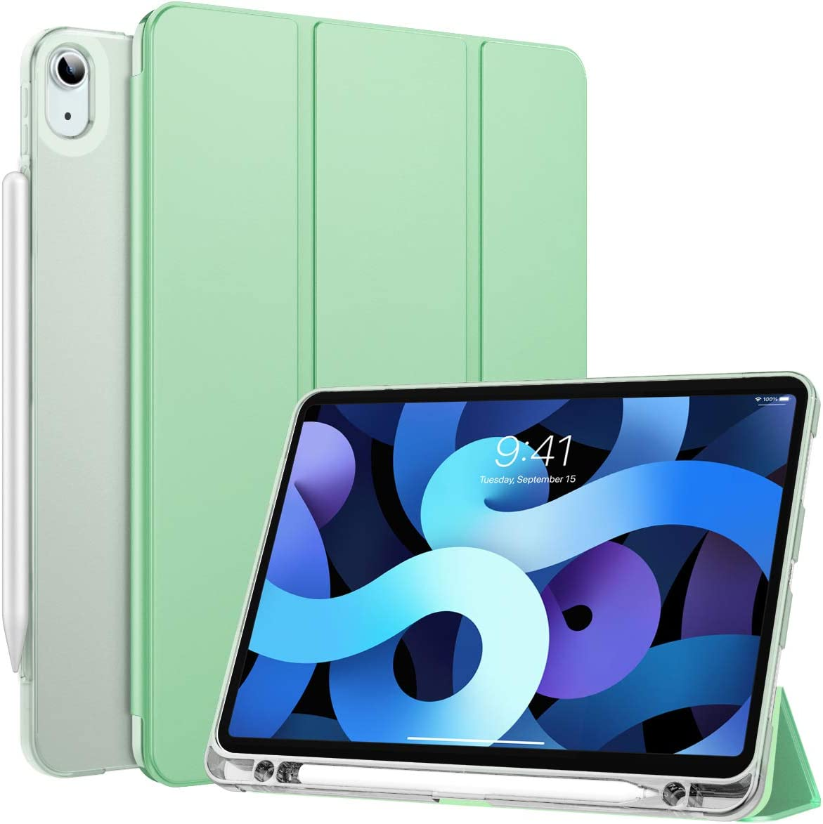 MoKo Case Fit New iPad Air 4th Generation 2020 - iPad Air 4 Case with Pencil Holder, Soft TPU Smart Trifold Shell Cover with Translucent Back Case for iPad Air 10.9