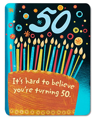 50th Birthday Greeting Cards (American Greetings Hard to Believe 50th Birthday Card with Foil)