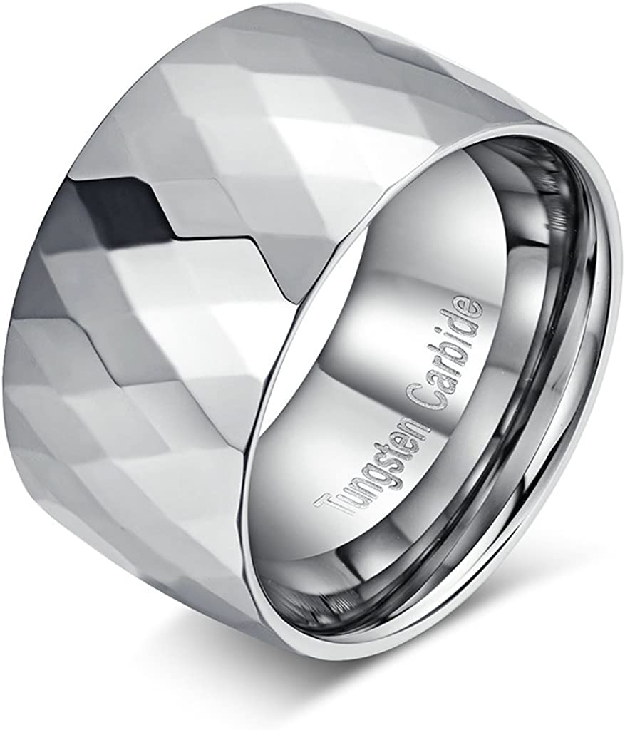 TIANYI Men's High Polished Multi-Faceted Tungsten Carbide Wedding Engagement Band Ring 12mm Width