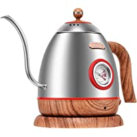 Electric Hot Water Kettle with Thermometer, Stainless Steel Gooseneck Pour Over Kettle for Drip Coffee and Tea, Cordless with Fast Boil, Auto Shut-Off & Boil Dry Protection