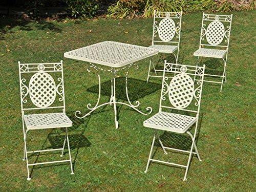 Tía Hilda cuadrada de hierro forjado de jardín mesa - disponibles sillas a juego en color crema: Amazon.es: Jardín