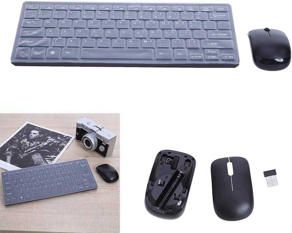 Ultra Thin 2.4G Optical Wireless Keyboard and Mouse Mice USB Receiver Combo Kit with keyboard cover for MAC PC Computer desktop PrinceShop