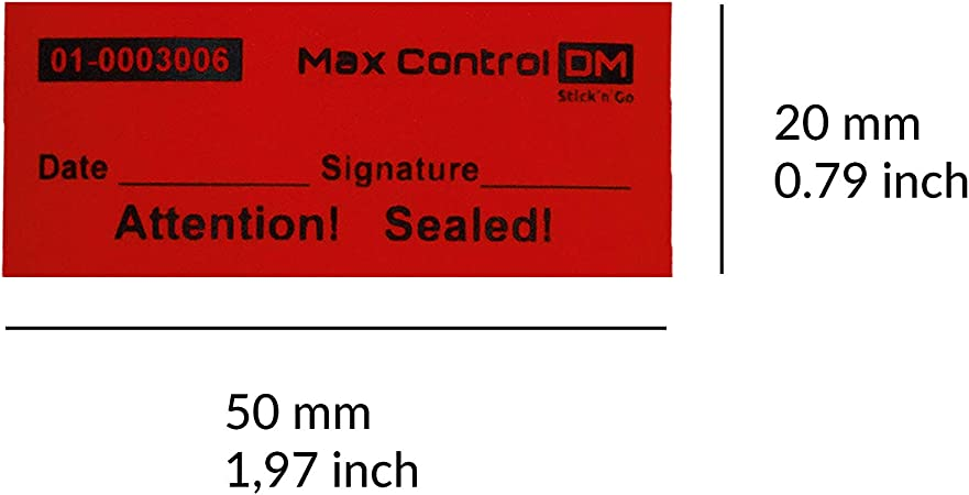 Unique Sequential Numbers, Red 1 x 2 inches - TamperSeals 100 Total Transfer Tamper Evident Security Warranty Void Label Seals