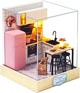ROBOX Dollhouse DIY Miniature Kits 1/24 Scale Home Kitchen Beginner Friendly Cozy Small Corners Furniture Accessories Kit Best Gift for Birthday with Exquisite LED Light