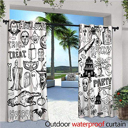 cobeDecor Vintage Halloween Indoor/Outdoor Single Panel Print Window Curtain Hand Drawn Halloween Doodle Trick or Treat Party Severed Hand Design Silver Grommet Top Drape W72 x L108 Black White ()