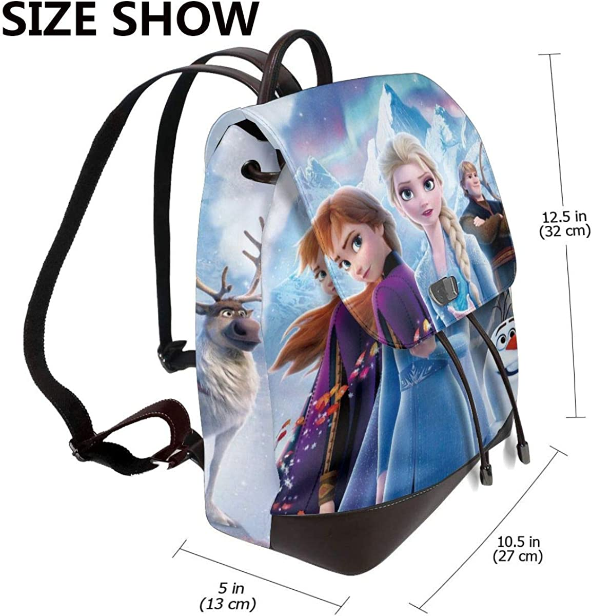 Fro-Zen Womens Leather Drawstring Backpack Flap Backpacks Purse Laptop Backpack For School Hiking Work Travel Shopping Dating