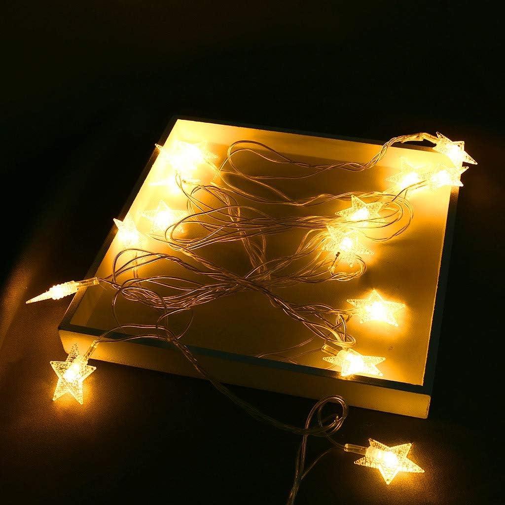 Glowjoy Guirnalda de Luces LED 3,7 m, 20 Estrellas de luz Blanca c/álida, para Interior y Exterior, decoraci/ón como Habitaciones, Navidad, cumplea/ños, jard/ín, Fiestas, habitaci/ón Infantil