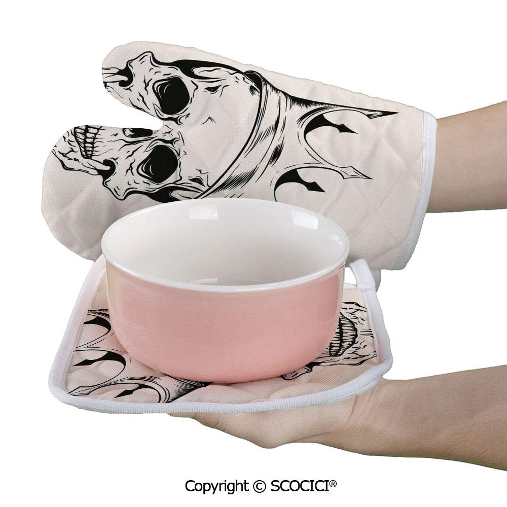 SCOCICI Baking Anti-Hot Glove Mod Illustration of a Dead Skull King with His Crown in Vintage Style Power Oven Microwave Mitts Pot with Square Mat