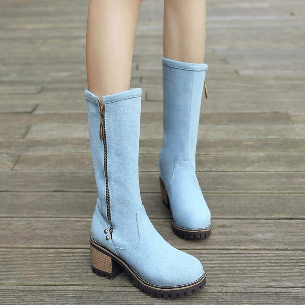 Womens Cowgirl Denim Mid Calf Boots Mid Chunky Stacked Heel Zipper Platform Casual Winter Boots