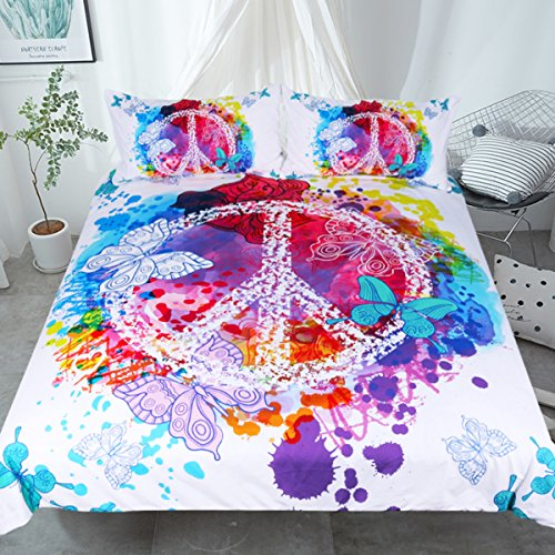 Sleepwish Hippie Psychedelic Butterfly Duvet Cover Peace Sign Bedding Boys Girls Watercolor Modern Colorful Art Bedspread (Full) -