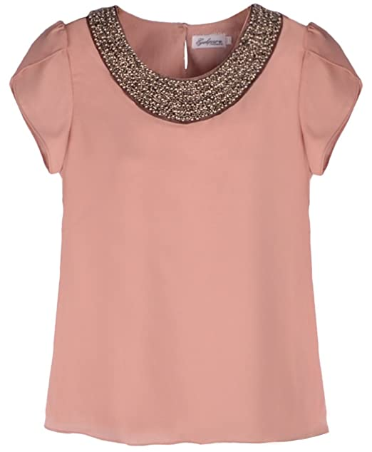 Mujer Perla cuerda cuello redondo kurzaermelig gasa Blusas Rosé 42