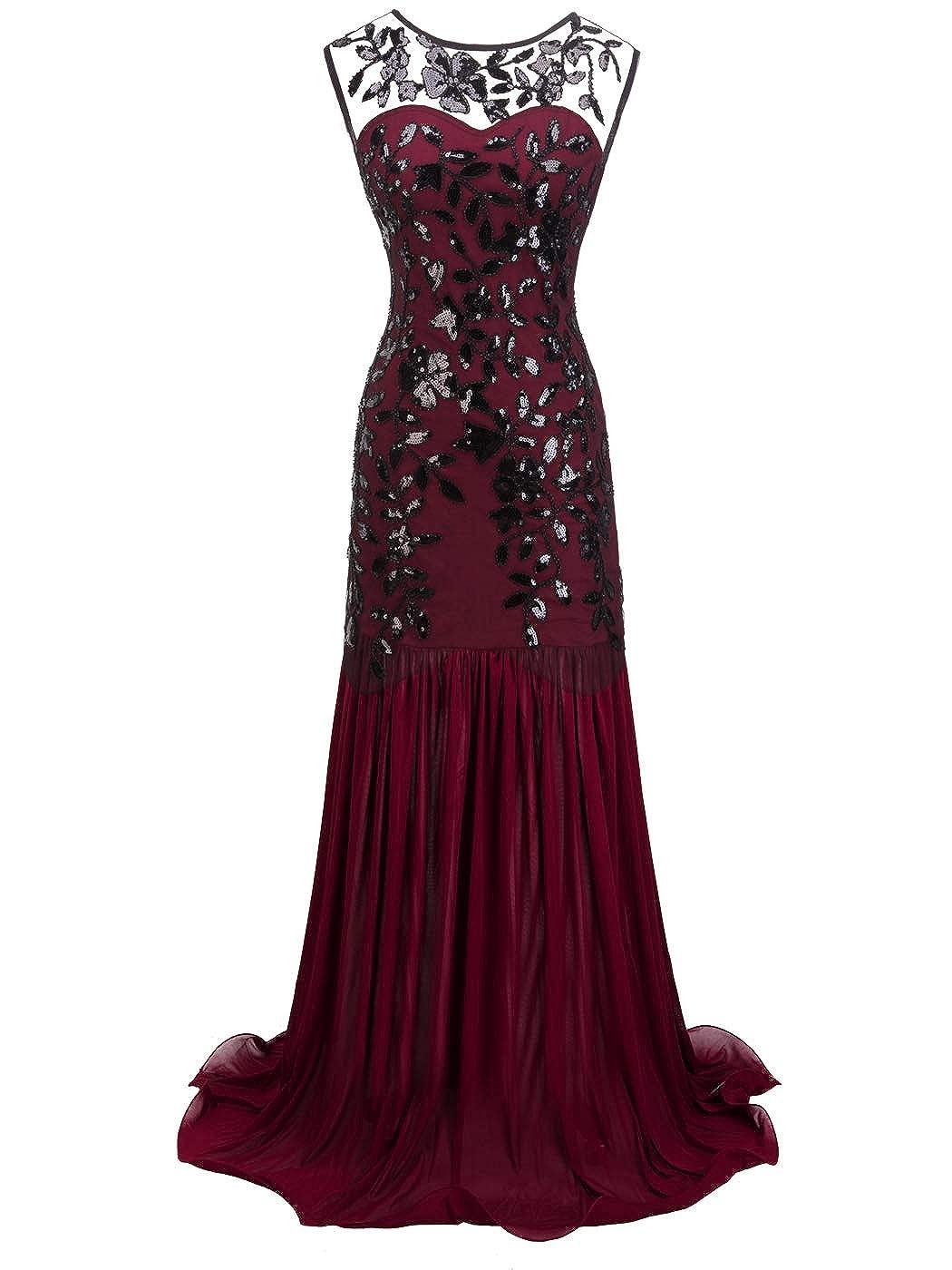 026burgundy Black FAIRY COUPLE 1920s FloorLength VBack Sequined Embellished Prom Evening Dress D20S004