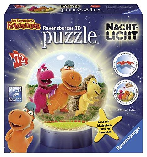 Ravensburger 12158 - Der kleine Drache Kokosnuss, 72 Teile 3D Puzzle-Ball Nachtlicht