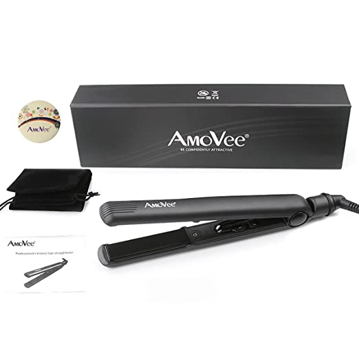 AmoVee®Pro Dial Flat Iron with Ceramic Plates 1 Inch, CeramicTourmaline Ionic Hair Straightener