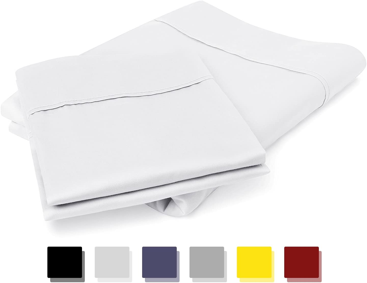 800 Thread Count 100% Egyptian Cotton Pillow Cases, White Standard Pillowcase Set of 2, Long-Staple Combed Pure Natural 100% Cotton Pillows for Sleeping, Soft & Silky Sateen Weave Bed Pillow Cover