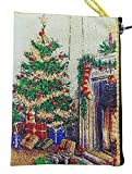 Father Christmas Santa Claus / Christmas Tree Handmade Antique Stye Tapestry Pouch