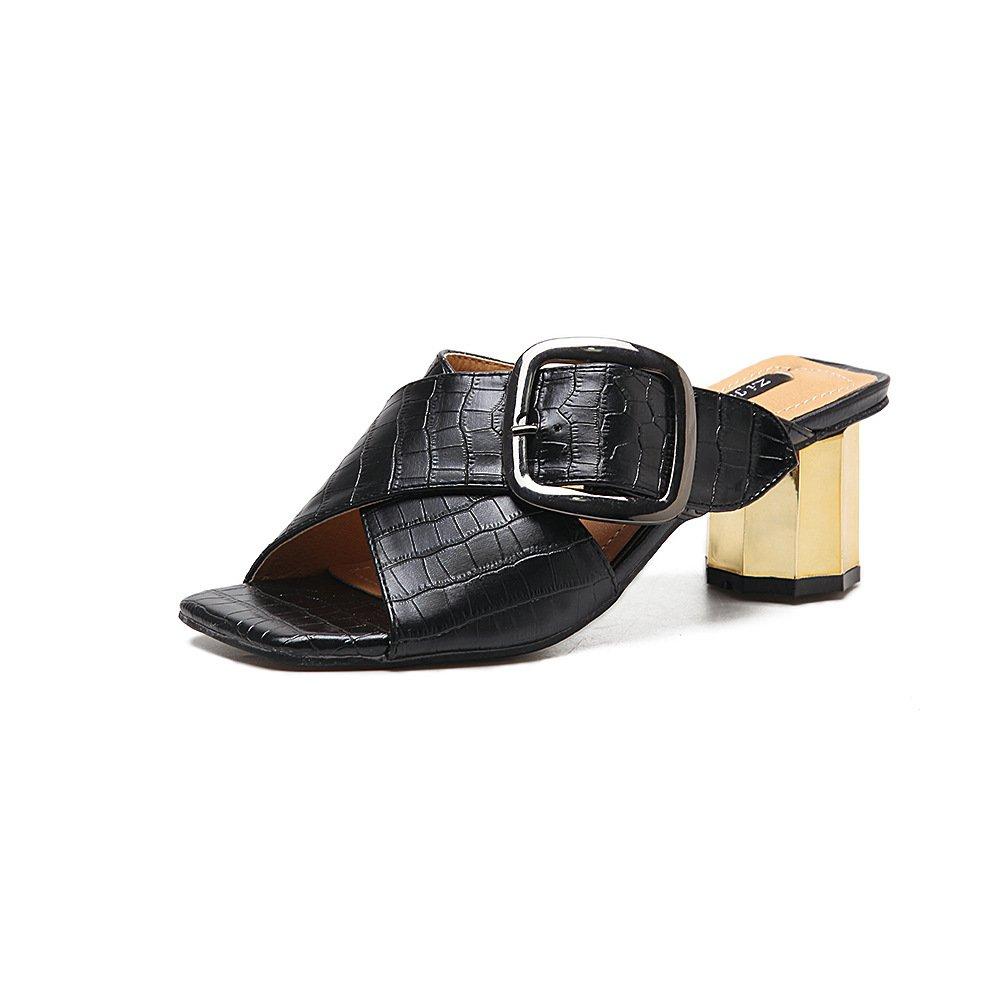ZHZNVX Ferse Schuhe Mode Fisch Mund Schuhe Guuml;rtelschnalle quadratische grobe Ferse Sandalen  37 EU|Black