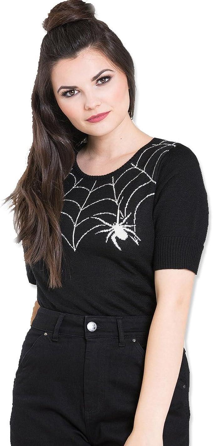 Hell Bunny Black 50s Spider Web Black Widow Short Sleeved Jumper