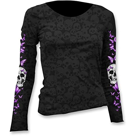 40e7acc5 Amazon.com: Lethal Threat Women's Long Sleeve Shirt (Butterfly Skull Burnout  Ls)(Black, Medium), 1 Pack: Automotive