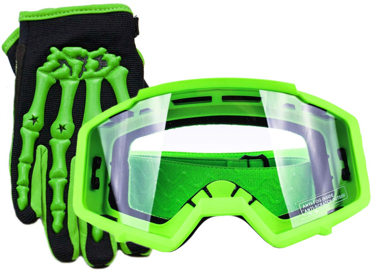 Typhoon Youth Glove & Goggle Combo Motocross Offroad ATV MX Dirt Bike - Green - Medium Typhoon Helmets YGLOVGOGGRNM
