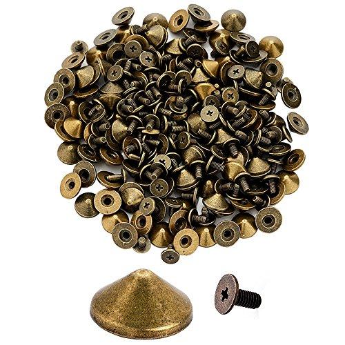 100pcs Cone Spikes Screwback Studs DIY Craft Cool Rivets Punk Stud Flat Cone Style 10x5mm 3/8x1/4 (Vintage Bronze)
