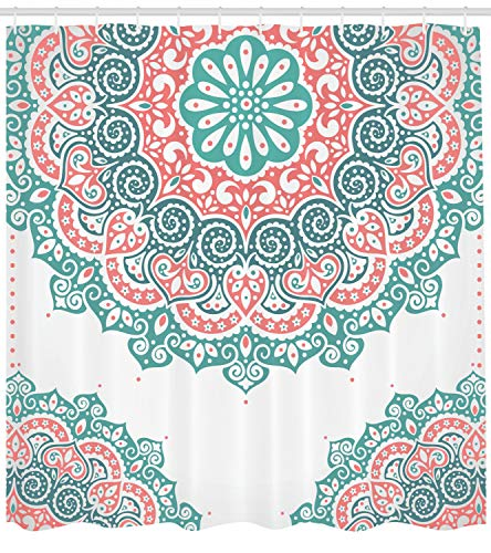 Teal and Coral Henna Shower Curtain