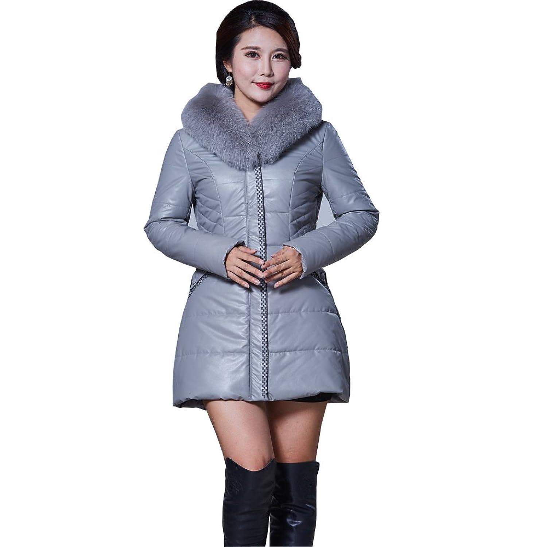 Lampang Women's Long Goose Down Coat with Faux-Fur Trim Hooded Jacket