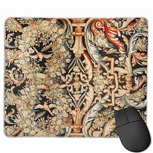 Aubusson Rose - Antique French Gobelins Aubusson Tapestry Gaming Mouse Pad with Non-Slip Rubber Base Mouse Mat Rectangle Mouse Pads for Home Office Working Desk Laptop