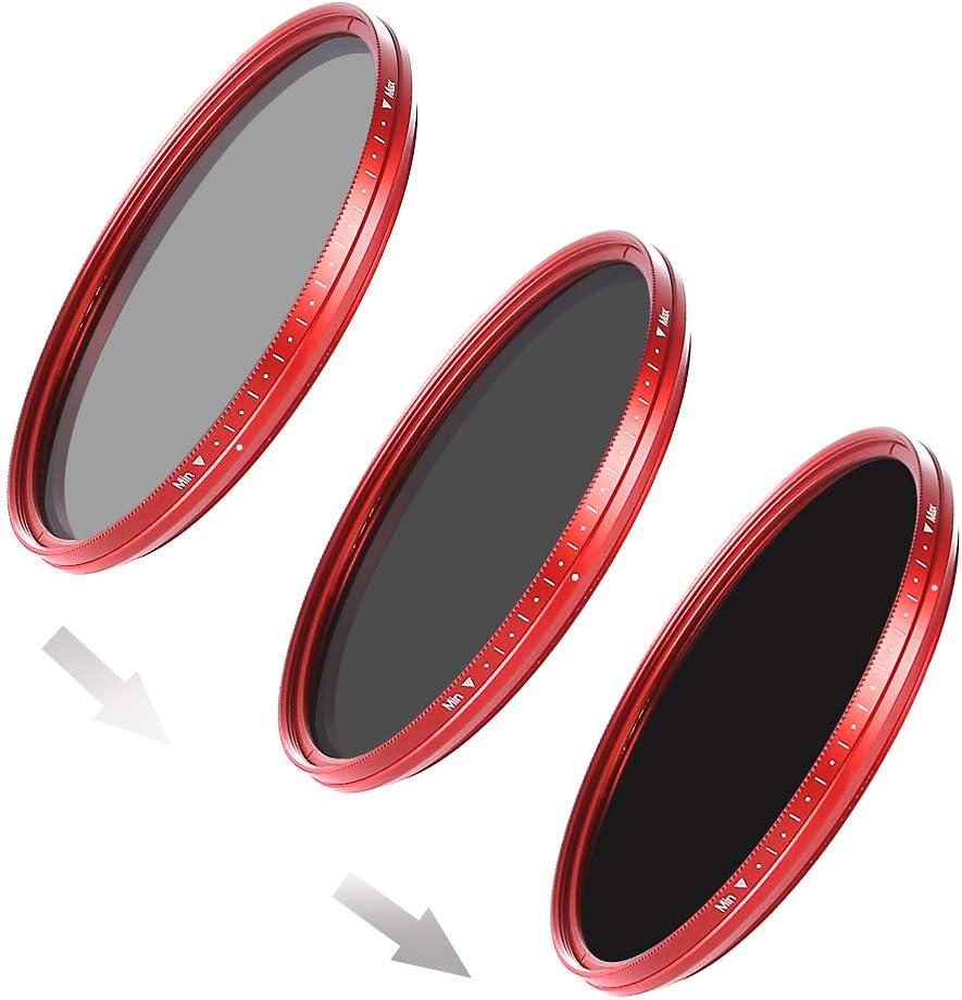 Neutral Density Filter/ Fotga 58/Mm Ultra Slim Fader Variable ND Filter Adjustable Neutral Density Lens Filter ND2/to ND400 /Red