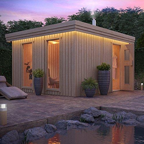 Gartensauna von ISIDOR, Outdoorsauna VAPOR mit 2 Fenster und Vorraum (inkl. Harvia BC80 und Fußboden im Vorraum)