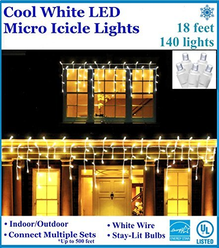 18ft LED Icicle Christmas Lights: 140 Micro Stay-Lit Bulbs, White Wire, 83% Energy Savings, 25,000 hour bulbs (Connective up to 500 feet or 3,080 lights) (Cool White)