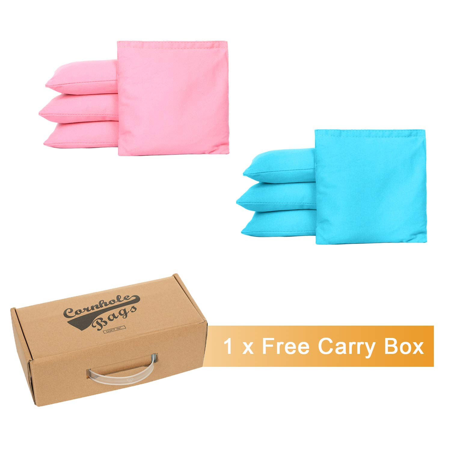 OOFIT Cornhole Bean Bags Set of 8 Weather Resistant for Tossing Corn Hole Game with Carrying Box (Pink, Blue)