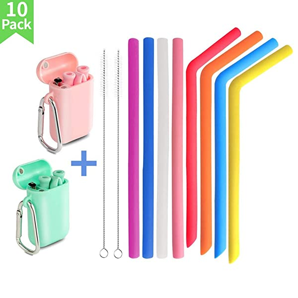 Yoocaa Set of 12 Reusable Silicone Collapsible Straws - 2 Pack Portable Drinking Straw with Case and Cleaning Brush  8 Pack Boba Straws with 2 Straw Cleaning Brushes and 1 Straw Pouch-Pink Green