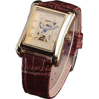 Amazon.com: SEWOR reloj marca de lujo hombres de piel ...