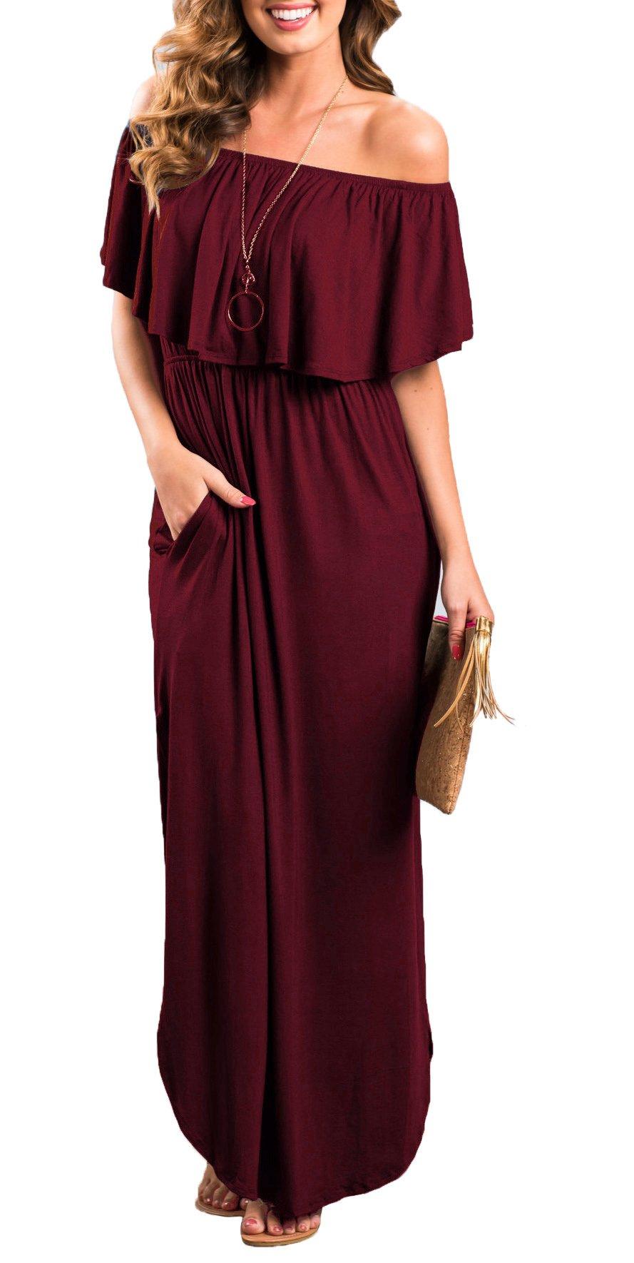 Oyanus Womens Off The Shoulder Ruffles Pockets Dress Side Split Maxi Dresses Wine Red M