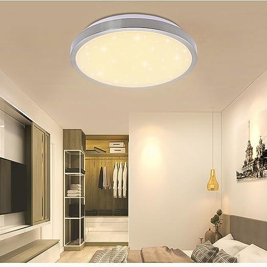 Vgo plafón LED salón lámpara de cocina Starlight efecto techo iluminación lustre dormitorio comedor de bajo consumo (16W Redonda Blanco Cálido)