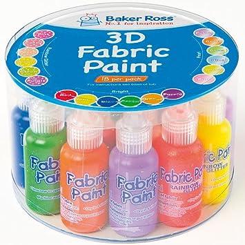Baker Ross Pack ahorro de pintura 3D para telas (Pack de 18): Amazon.es: Juguetes y juegos