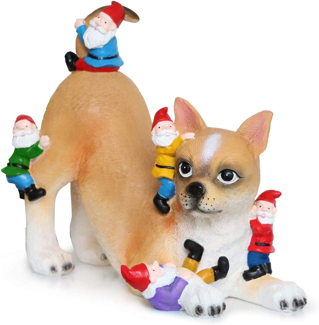 """Dakota Arts Cute Dog Garden Gnome Statue Figurine Ornament Large 11"""" Great Indoor and Outdoor Hand Painted Gift Statue for Home or Office Best Art Decor Garden Gnomes"""