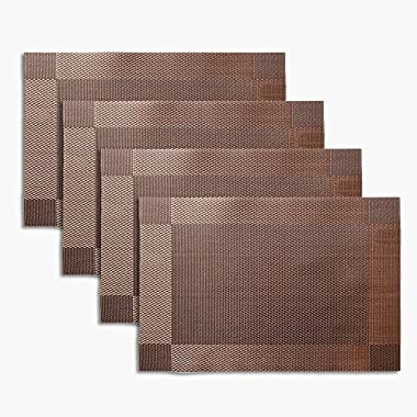 Non-slip Insulation Placemat,Moor Crossweave Woven Vinyl Non-slip Insulation Placemat Washable Table Mats Set of 4 (Brown)