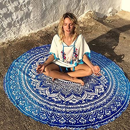 Azul y blanca impresa moda Yoga redondo playa toalla asiento ...