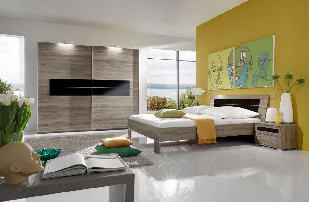 3-tlg. Schlafzimmer in Montana Eiche-Nachb. mit Schwarzglas, Kleiderschrank Breite: 250 cm, Futonbett 180x200 cm, 2 Nachtschränke Breite je: 52 cm