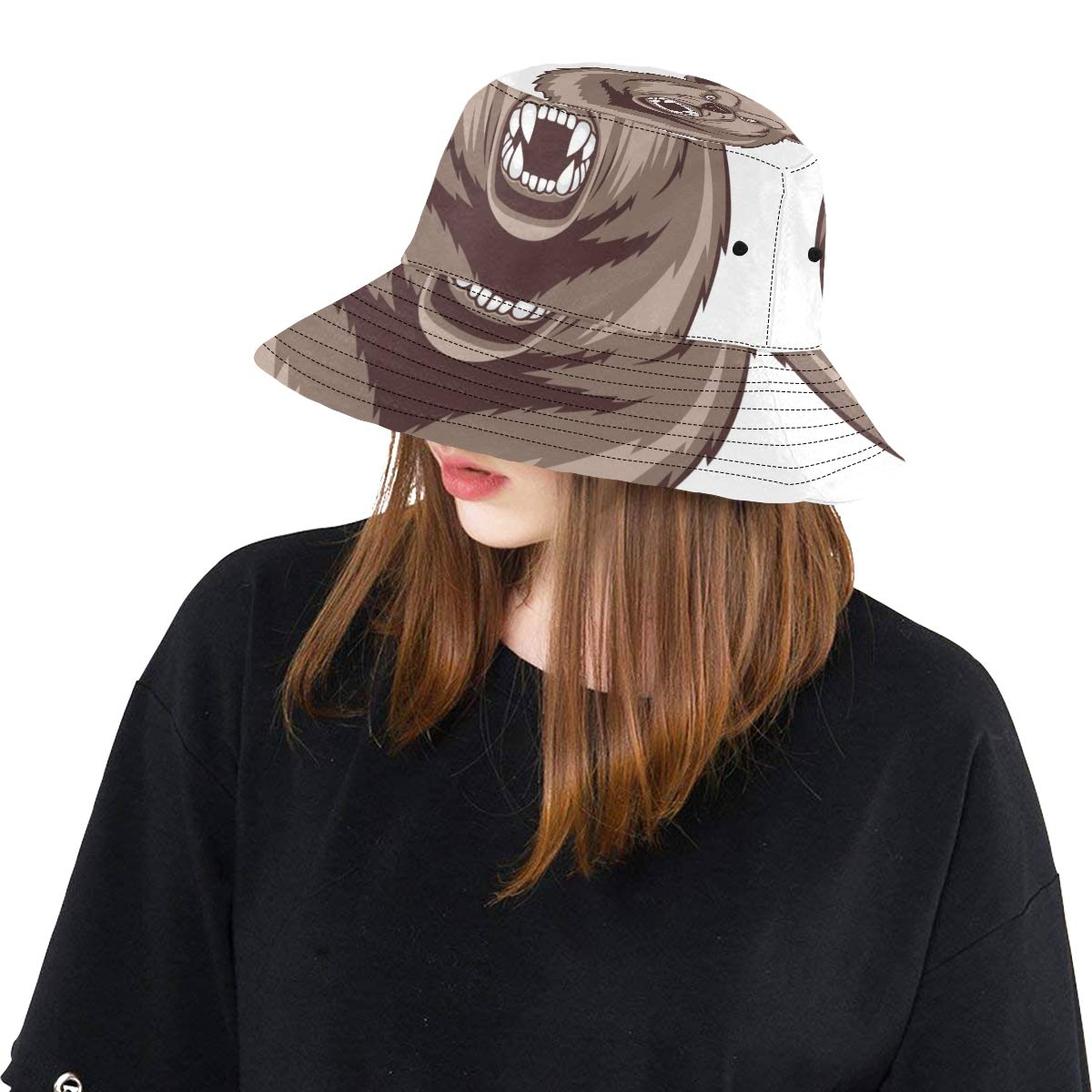 Cool Aggressive Angry Bear New Summer Unisex Cotton Fashion Fishing Sun Bucket Hats for Kid Women and Men with Customize Top Packable Fisherman Cap for Outdoor Travel Teens