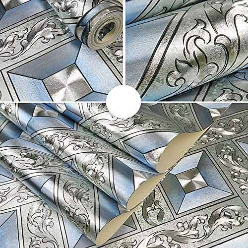 QIHANG Luxury Silver Foil Mosaic Square Lattice Background Flicker Wallpaper Gold Leaf Wallpaper Modern Roll/hotel Ceiling/decorative Wallpaper Roll Silver&Blue Color 1.73' W x 32.8' L=57 sq.ft by QIHANG (Image #3)