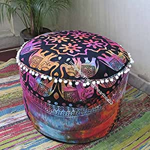 The Art Box Elephant Mandala Cotton Round Ottoman Pouf Cover Ethnic Indain Pouffe Cover Boho, 100% Cotton