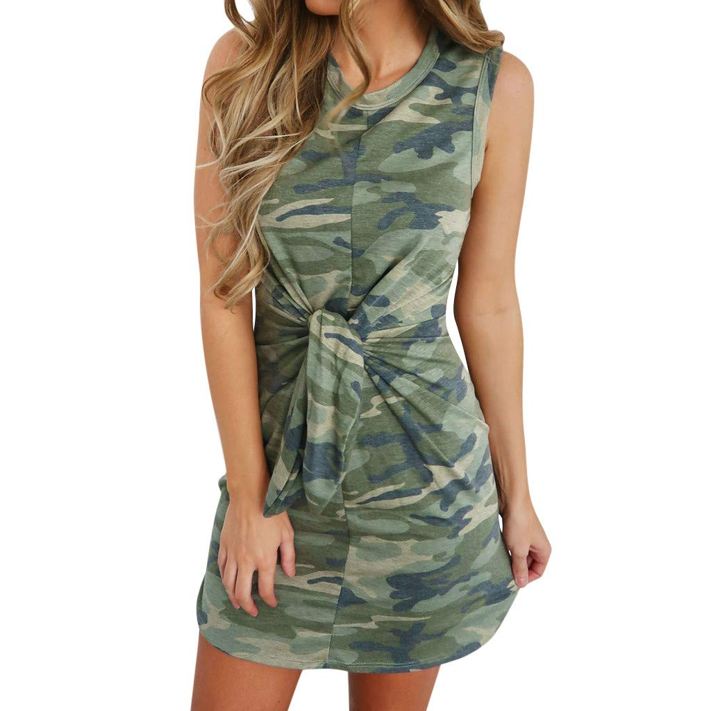 Feitengtd Womens Holiday Summer Tied Up Camouflage Print Sleeveless Party Mini Dress (Green, S)
