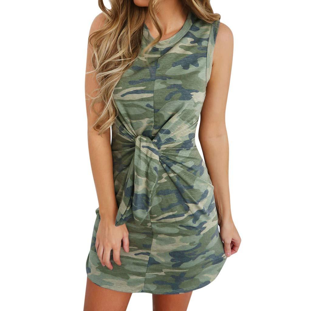 Ximandi Womens Holiday Summer Tied Up Camouflage Print Sleeveless Party Mini Dress