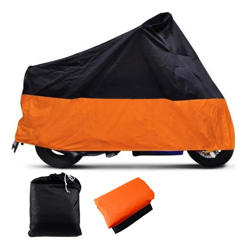 XXXL Indoor Outdoor Motorcycle Cover Water Resistant Dustproof UV Protective Breathable Orange/Black w/Carry Bag